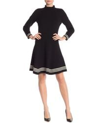 Anne Klein - Ruffle Mock Neck Fit And Flare Sweater Dress - Lyst