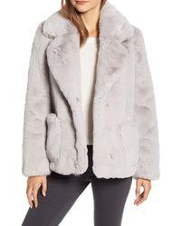 Ellen Tracy Faux Fur Jacket - Grey