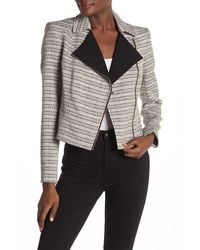 Calvin Klein Novelty Tweed Moto Jacket - Gray