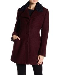 Laundry by Shelli Segal - Fit & Flare Faux Shearling Trimmed Wool Blend Coat - Lyst