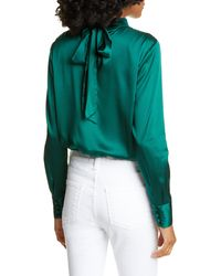 Veronica Beard Wade Silk Blend Keyhole Blouse - Green