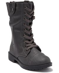 Wanted Combat Boot With Fold Down Side - Gray