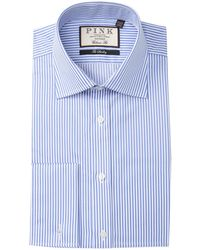 Thomas Pink Striped The Sterling Classic Fit Dress Shirt - Blue