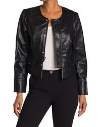 T Tahari Faux Leather Snap Button Jacket - Black