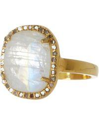Adornia - 14k Gold Vermeil Moonstone & Diamond Rose Cut Halo Ring - Lyst