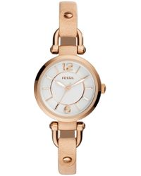 Fossil - Women's Georgia Sand Small Round Leather Strap Watch, 26mm - Lyst