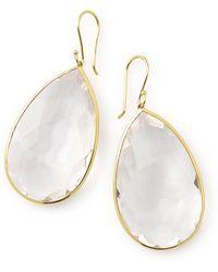 Ippolita - Rock Candy 18k Yellow Gold Bezel Set Faceted Clear Quartz Pear Cut Drop Earrings - Lyst