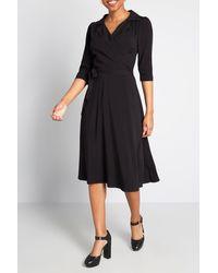 ModCloth Mc X Collectif Sudden Serenity Midi Wrap Dress - Black