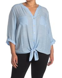 Ruby Rd. Tie Hem Rolled Tab Sleeve Shirt - Blue