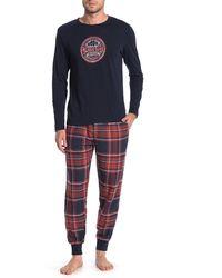 Lucky Brand Printed Shirt & Sweatpants 2-piece Pajama Set - Blue