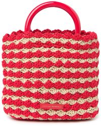 Loeffler Randall Audrey Straw Tote - Red