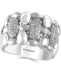 Effy Sterling Silver Diamond Pave Statement Ring - Size 7 - 0.37 Ctw - Metallic