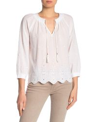 Lucky Brand - Eyelet Peasant Top - Lyst