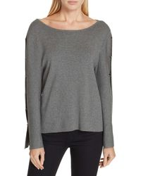 MILLY - Button Sleeve Sweater - Lyst