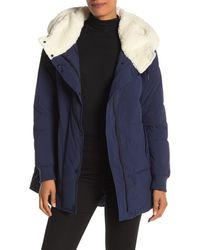 Marc New York Long Sleeve Faux Shearling Hooded Puffer Coat - Blue