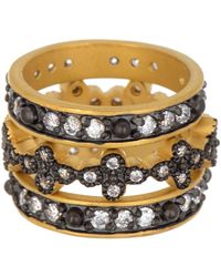 Freida Rothman 14k Gold Cz Clover Stacking Rings - Set Of 3 - Metallic