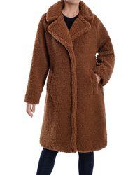 Lucky Brand Faux Shearling Long Coat - Brown