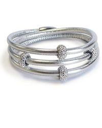 Liza Schwartz Triple Wrap Leather Cuff Bracelet - Metallic