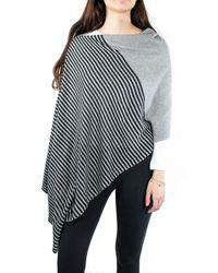 Portolano Stripe Colorblock Cowl Neck Knit Poncho In Black/light Hth Gray At Nordstrom Rack - Multicolor