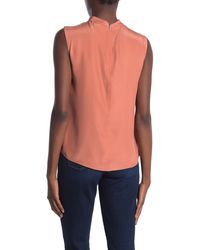 TAILORED BY REBECCA TAYLOR Sleeveless Mock Neck Silk Blouse - Multicolour