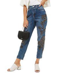 TOPSHOP - English Flower Embellished Mom Jeans - Lyst