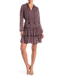ABS Collection - Printed Long Sleeve Tie Neck Dress - Lyst