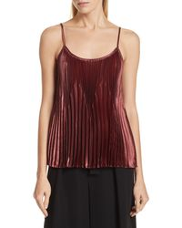 Vince Chevron Pleated Satin Tank Top - Red