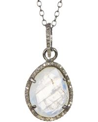 Adornia - Beckett Moonstone & Champagne Diamond Necklace - Lyst