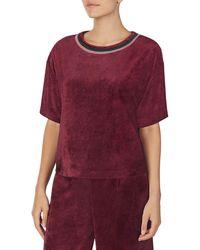 Room Service Accent Crew Neck Velvet T-shirt - Purple