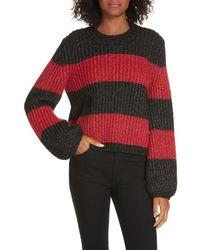 La Ligne Colorblock Balloon Sleeve Crop Sweater - Red