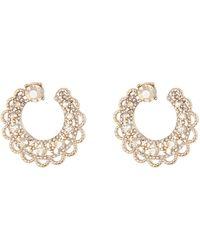 Marchesa Crystal Swirl Hoop Earrings - Metallic