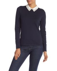 Cece by Cynthia Steffe - Embellished Collar Cotton Blend Sweater (regular & Plus Size) - Lyst