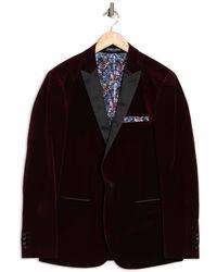 Paisley and Gray Burgundy Solid Peak Lapel One Button Velvet Tux Jacket - Black