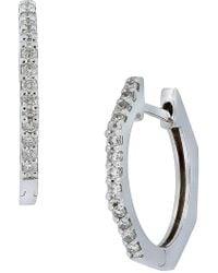Bony Levy - 18k White Gold Pave Diamond Huggie Hoop Earrings - Lyst