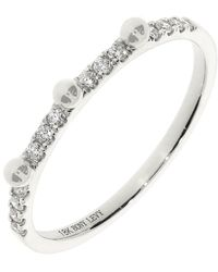 Bony Levy 18k White Gold Beaded Diamond Accent Stackable Ring - 0.12 Ctw - Metallic
