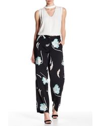 1.STATE - Flat Front Floral Print Wide Leg Trousers - Lyst
