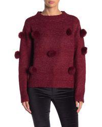 Cliche Genuine Rabbit Fur Pompom Sweater - Multicolor