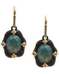 Armenta - Old World Blackened Sterling Silver Faceted Opal, Mother Of Pearl, White Quartz & Pave Diamond Drop Earrings - Lyst