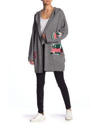 Skull Cashmere Raven Wool & Cashmere Hooded Cardigan - Gray