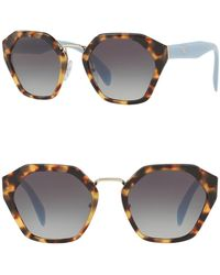 af9c030b0f4 Lyst - Prada Women s Aviator Metal Frame Sunglasses in Metallic