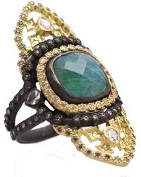 Armenta - Old World Blackened Sterling Silver & 18k Yellow Gold Malachite & Rainbow Moonstone Doublet & Pave Diamond Ring - Size 7 - Lyst
