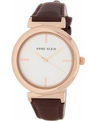 Anne Klein - Women's Oversized Leather Strap Watch, 38mm - Lyst