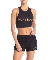 cd2653f34bd Bebe Mesh Back Sports Bra in Black - Lyst