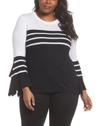 Vince Camuto - Handkerchief Sleeve Stripe Sweater (plus Size) - Lyst