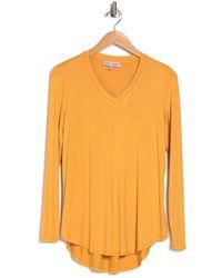 Philosophy Apparel V-neck High/low Hem Shirt - Orange