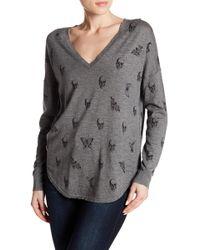 Skull Cashmere - Zahara V-neck Knit Skull Floral Print Sweater - Lyst