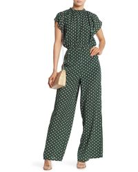Sugarlips Polka Dot Printed Gathered Neck Jumpsuit - Green