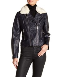 French Connection - Faux Fur Collar Faux Leather Moto Jacket - Lyst