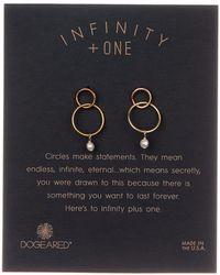 Dogeared - Infinity + One Two-tone Dangling 6mm Freshwater Pearl Double Ring Drop Earrings - Lyst