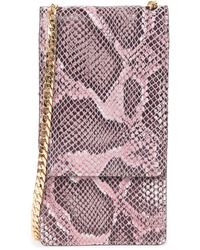 Nordstrom Margaux Snakeskin Print Leather Wallet On A Chain In Pink Cake Snake At Rack
